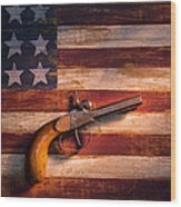 Old Gun On Folk Art Flag Wood Print