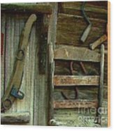 Old Hanging Ladderback Wood Print