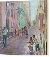 Old Havana Street Life - Sale - Large Scenic Cityscape Painting Wood Print