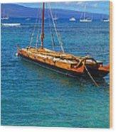 Old Hawaiian Sailboat Wood Print