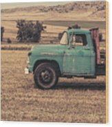Old Hay Truck In The Field Wood Print
