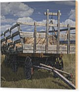 Old Hay Wagon In The Prairie Grass Wood Print