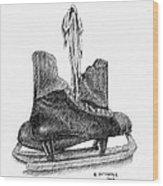 Old Hockey Skates Wood Print by Al Intindola