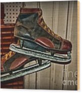Old Hockey Skates Wood Print by Paul Ward