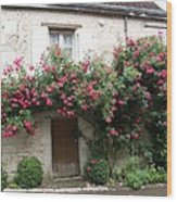 Old House Covered With Roses Wood Print