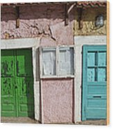 Old House Doors In Lisbon Wood Print