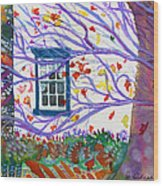 Old House In The Fall Wood Print