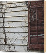 Old House Red Shutter 4 Wood Print