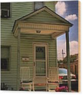 Old Houses - New Jersey - In The Oranges - Green House With Flower Pots And Rocking Chairs - Color Wood Print