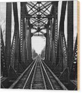 Old Huron River Rxr Bridge Black And White  Wood Print