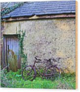 Old Irish Cottage With Bike By The Door Wood Print
