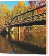 Historic Harvey Bridge Over Manistee River In Wexford County Michigan Wood Print