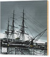 Old Ironsides Blue Tone Wood Print by Linda Ryan