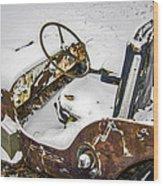 Old Jeep - New Snow Wood Print