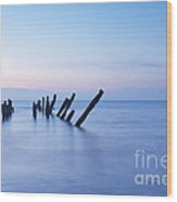 Old Jetty Posts At Sunrise Wood Print