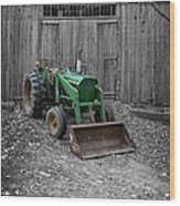 Old Tractor By The Barn Etna New Hampshire Wood Print