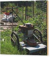 Vintage Lawn Mower Wood Print