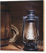 Old Kerosene Lantern Wood Print by Olivier Le Queinec