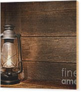 Old Kerosene Light Wood Print