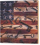 Old Keys On American Flag Wood Print