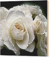 Old Lace Rose Bouquet Wood Print
