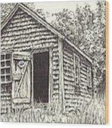 Old Lanes Cove Fishing Shack Wood Print