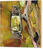 Old Lantern In Camo Wood Print