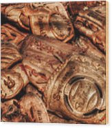 Old Leather Wood Print by Bill Wakeley