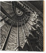 Old Lighthouse Stairway Wood Print
