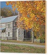 Old Log House Wood Print