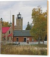 Old Mackinac Point Lighthouse In October Wood Print