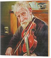 Old Man And Fiddle Wood Print