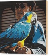 Old Man And His Bird Wood Print