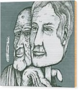 Old Man Behind A Young Mans Face Wood Print by Richie Montgomery