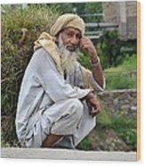 Old Man Carrying Fodder Swat Valley Kpk Pakistan Wood Print