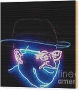 Old Man In Neon 2 Wood Print