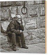 Old Man Pondering Wood Print