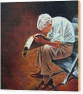 Old Man Reading Wood Print