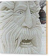 Old Man Winter Snow Sculpture Wood Print