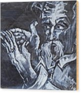 Old Man With Messianic Hands Wood Print