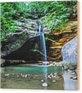 Old Mans Cave Lower Falls Wood Print