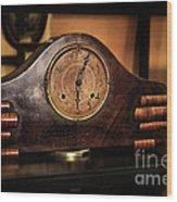Old Mantelpiece Clock Wood Print by Kaye Menner