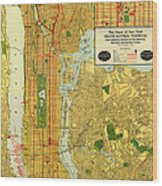 Old Map Of New York Central Railroad Manhattan Map 1918 Wood Print