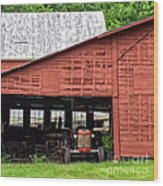 Old Massey Ferguson Red Tractor In Barn Wood Print