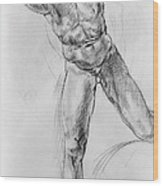 Old Masters Study Nude Man By Annibale Carracci Wood Print
