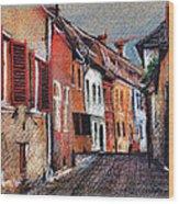 Old Medieval Street In Sighisoara Citadel Romania Wood Print