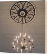 Old Meeting House Chandelier Wood Print
