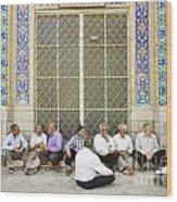 Old Men Socializing In Yazd Iran Wood Print
