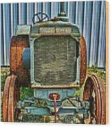 Old Metal Wheeled Tractor Hdr Wood Print