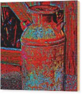 Old Milk Pail Pop Art Wood Print